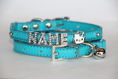 BLUE PERSONALISED CAT COLLAR with BELL