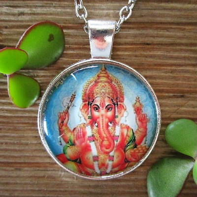 LORD GANESHA Elephant God PROSPERITY GOOD FORTUNE Silver Glass Pendant Necklace
