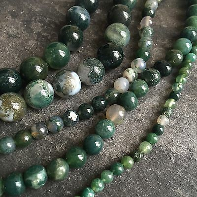 "Moss Agate 4mm - 12mm round gemstone beads. Full 15"" strand SP247"