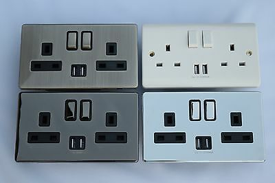 Double Wall Sockets USB Plug 13Amp 2-Gang Screwless Plate  CE Marked