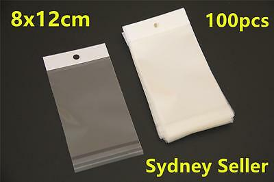 100x Self Adhesive Resealable Clear Plastic Bags With Hang Hole 8x12cm In Sydney