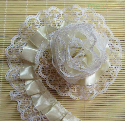 5yd Vintage Gathered Embroidered Lace Edge Trim Ribbon Applique Sewing Craft DIY