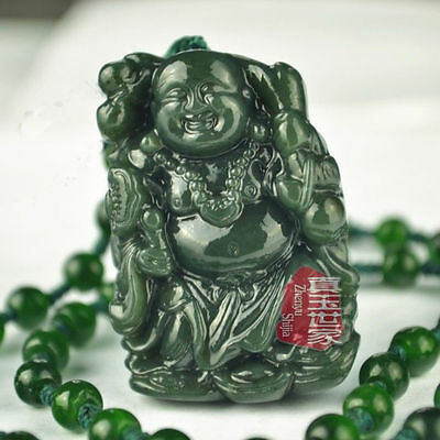100% Natural Hand-carved Chinese Hetian Jade Pendant - Buddha, send a certificat