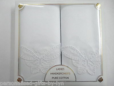 2 Ladies Handkerchiefs Gift Boxed Butterfly