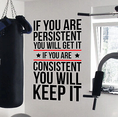 Persistent Pro Design Home Gym Motivational Wall Decal Fitness Strength Workout