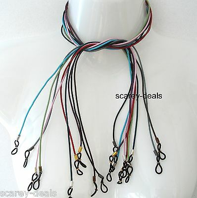 2 LEATHER glasses spectacles holder neck cord Unisex U CHOOSE COLOURS 1st class