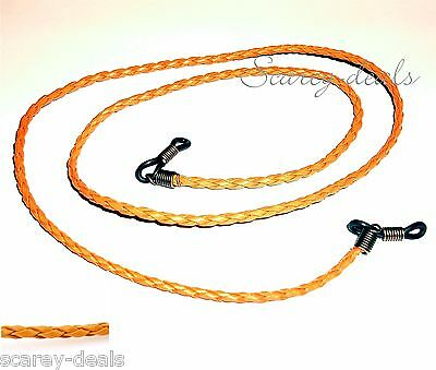 "3mm 28"" Orange spectacles holder Leatheriod Braided glasses strap 1ST CLASS POST"