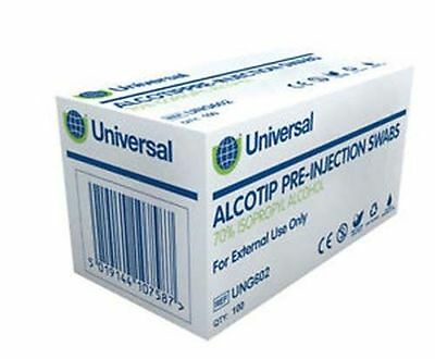 Universal Alcohol Wipes Pre Injection Swabs 70% IPA NHS Grade (Pack of 100)