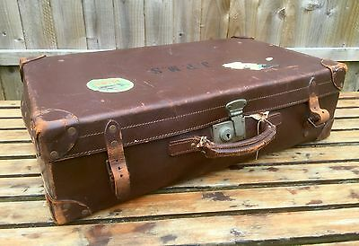 -Vintage- Jpms Large Brown Leather Suitcase Luggage Bag Storage Trunk Chest Box