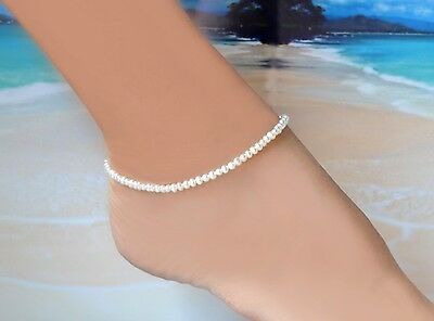 "Freshwater White Pearl & Italian .925 Sterling Silver Ankle Bracelet ~10"" to 11"""