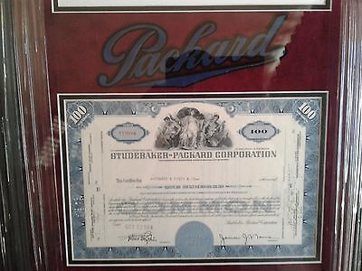 Original 1954 Studebaker Packard Corporation Certificate, Custom Framed W/C.O.A