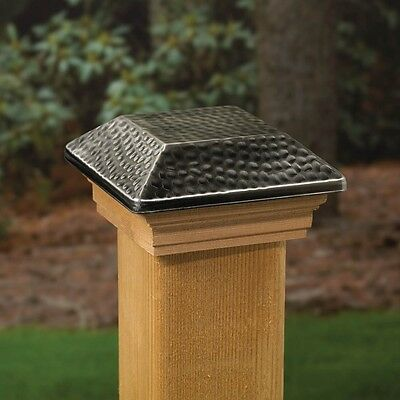 Deckorators 180275 4x4 AGED STAINLESS HAMMERED POST CAP TREATED CAPUCHON POTEAU