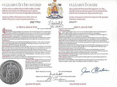 Jean Chretien Signed Autographed Copy of Proclamation of Canadian Constitution
