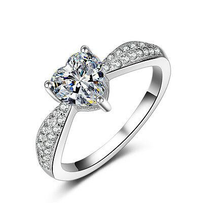 18k White Gold Filled in Silver Heart Shape Wedding Bridal Engagement Ring R170