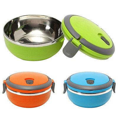 Portable Lunch Box Thermal Insulated Stainless Steel Bento Food Container Round