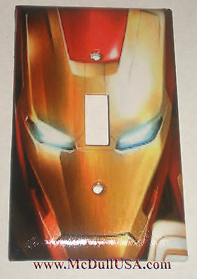 Iron Man Face Light Switch Duplex Outlet Cover Plate & more Home decor