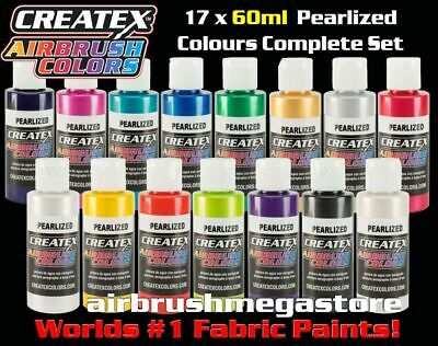 Createx Airbrush Colors 60ml Pearl 17 Colour Set + Free Insured Post