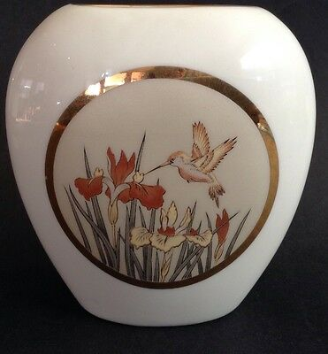 Chokin Porcelain Small Vase Hummingbird Design Gold Trim Handcrafted  in Japan