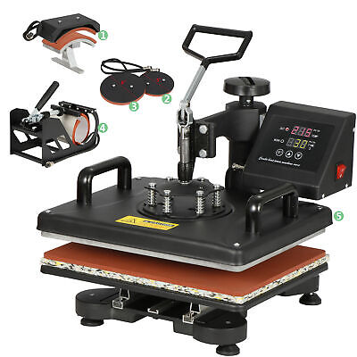 "5in1 Combo Heat Press Machine 12"" x 15"" Transfer Sublimation T-Shirt Mug Cap Pad"