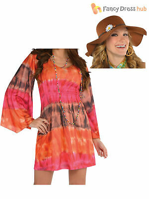 Ladies 1960s Groovy Festival Fancy Dress Adults Hippy Costume Hippie 60s Outfit