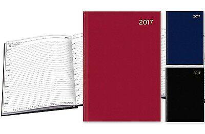 2017 A5 Page A Day Casebound Hardback Appointment Diary with Times - Blue