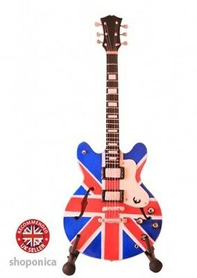 Wooden Miniature Union Jack Design Mini Guitar. Delivery is Free