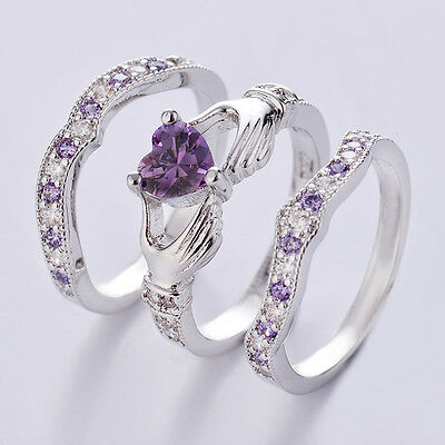 3Pcs Irish Claddagh Celtic Heart Amethyst 925 Silver Wedding Ring Set Size 5-12