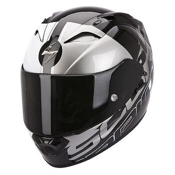 Scorpion EXO 1200 Quarterback Silver Black Motorcycle Motorbike Full Face Helmet