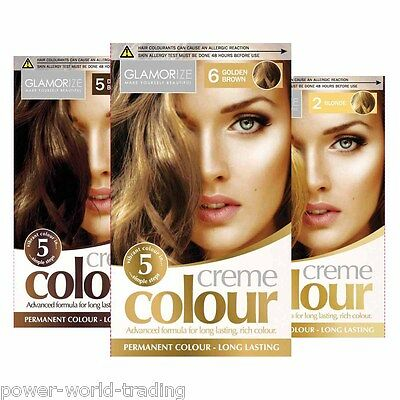 Glamorize Permanent Hair Dye Colourant Creme Colour Brown Black Blonde Mahagony