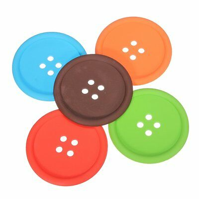 5Pcs Cup Cushion Holder Cute Colorful Silicone Button Coaster  S*