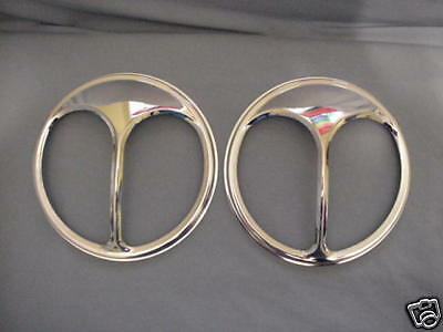 """cat Eyes"" One Pair Of Large Chrome Headlight Shields"
