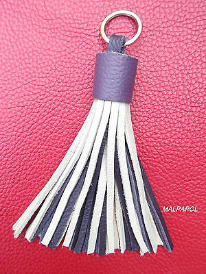 Porte-Cles / Key Ring / Porta Chiavi Pompon 100 % Cuir Leather GRIS VIOLET !