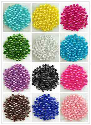 500Pcs Acrylic Round Pearl Spacer Loose Beads 6mm