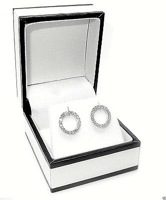 Rhodium Plated 925 Hallmarked Italian Silver Circle Of Life Stud Earrings