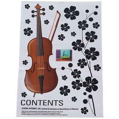 Violin Flowers Wall Stickers Art Decals Mural DIY Wallpaper for Living Room SP