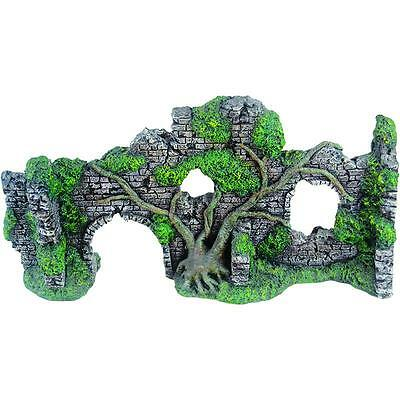Aquarium Ornament Fish Tank Castle Wall Ruins Overgrown Tree Decoration 28346
