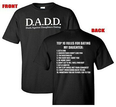 Top Ten Rules with Dads Against Daughters Dating Front & Back Design T-Shirt