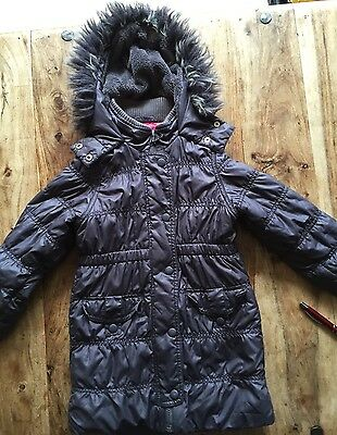 Hk) Girls M&S Brown Padded Coat AGE 5-6 Years