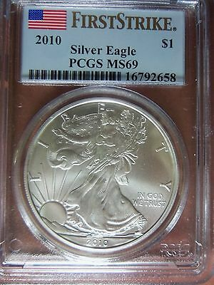 "2010 1 Oz American Silver Eagle MS 69 PCGS Special Flag ""First Strike"" Label"