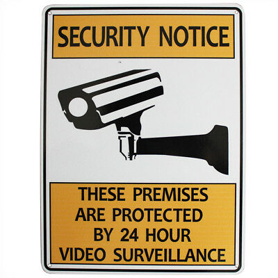 WARNING SECURITY NOTICE SIGN Video Surveillance 24 hour 225x300mm Metal 16003011
