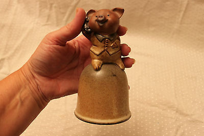 """Pig Telephone Pottery Bell - """"Happy Pig"""" by Giftcraft"""