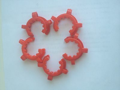 Lot of 5 KECK CLIPS GROUND GLASS CONNECTORS , JOINT CLIPS, RED,  Size 29/42