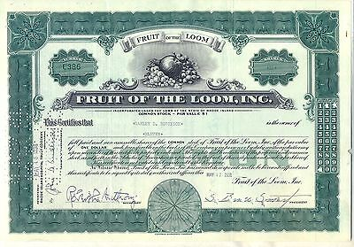 Fruit of the Loom, Inc. Stock Certificate Green Berkshire Hathaway