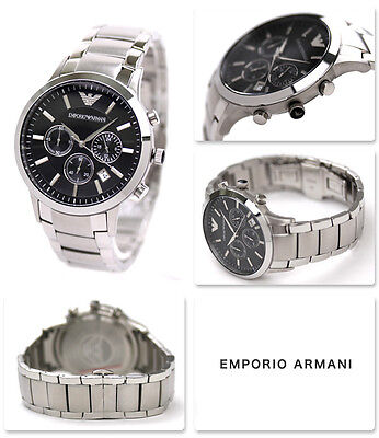 NEW Emporio Armani Black / Silver Classic Watch Quartz Analog Men's Watch AR2434