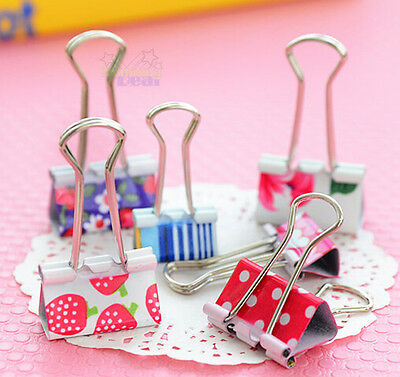 Cute 24pcs Metal Home Office Student Documents Papers Binder Clips 25mm Width