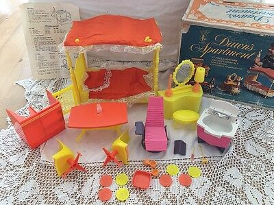 Amsco DAWN'S APARTMENT Doll Furniture With Box Salon Parts Not Complete