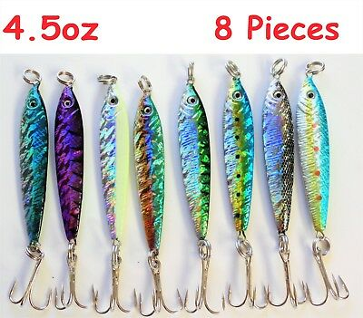 8 Pieces 4.5oz Mega Live bait Metal Jigs Fishing Lures - 8 Colors