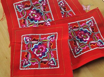 4pcs Small Chinese square tribal miao hmong machinemade red embroidery 8cm