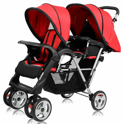 Foldable Twin Baby Double Stroller Kids Jogger Travel Infant  Pushchair Red