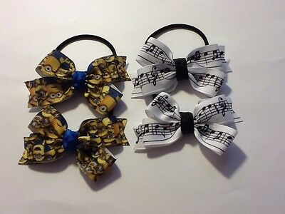 HANDMADE- GIRLS BOWS HAIR TIES .MINION or MUSIC NOTES  A Pair